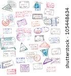 passport stamps | Shutterstock . vector #105448634