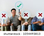 group of people holding true ... | Shutterstock . vector #1054493813