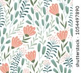 seamless floral design with... | Shutterstock .eps vector #1054497890