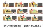 happy family at home watching... | Shutterstock .eps vector #1054502663