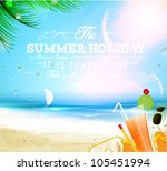 summer background with sea  sun ... | Shutterstock .eps vector #105451994