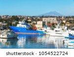 harbor of catania  sicily....   Shutterstock . vector #1054522724