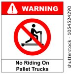 riding on pallet trucks is... | Shutterstock .eps vector #1054524290