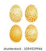 set of golden eggs. happy...   Shutterstock .eps vector #1054529966