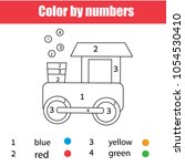 coloring page with toy train.... | Shutterstock .eps vector #1054530410