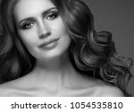 young woman with beauty skin... | Shutterstock . vector #1054535810