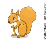 cute cartoon squirrel. vector... | Shutterstock .eps vector #1054537340