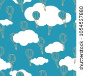 hand drawn air baloons line... | Shutterstock .eps vector #1054537880