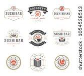 sushi restaurant logos set... | Shutterstock .eps vector #1054538513