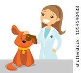 caucasian white veterinarian... | Shutterstock .eps vector #1054540433