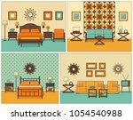 room interiors. vector. linear... | Shutterstock .eps vector #1054540988
