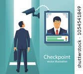 checkpoint with a surveillance... | Shutterstock .eps vector #1054541849