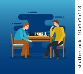 two young men playing chess  ...   Shutterstock .eps vector #1054545113