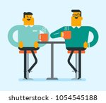 two cheerful caucasian white... | Shutterstock .eps vector #1054545188