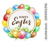 colorful easter eggs with grass ...   Shutterstock .eps vector #1054551596