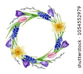 round frame  watercolor spring ...   Shutterstock . vector #1054552979
