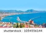 landscape with marina and red... | Shutterstock . vector #1054556144