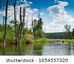 river wda near miedzno village. ... | Shutterstock . vector #1054557320