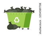 overflowing garbage bin. vector ...   Shutterstock .eps vector #1054589708