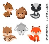 woodland animals and decor... | Shutterstock .eps vector #1054592306