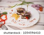 canap s with seafood and... | Shutterstock . vector #1054596410