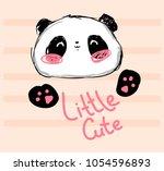 hand drawn cute panda drawing... | Shutterstock .eps vector #1054596893