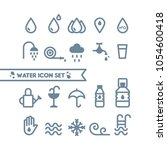 set  water and drops icons.... | Shutterstock .eps vector #1054600418