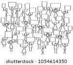 vector crowd of protesting... | Shutterstock .eps vector #1054614350