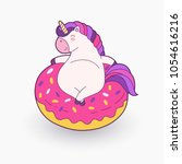 cute cartoon magical unicorn.... | Shutterstock .eps vector #1054616216
