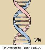 dna symbol. dna helix symbol.... | Shutterstock .eps vector #1054618100