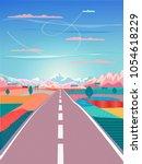 summer sunset painting poster... | Shutterstock .eps vector #1054618229