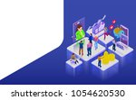 promotion in social networks.... | Shutterstock . vector #1054620530