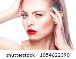 closeup beauty face of young... | Shutterstock . vector #1054622390