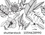 hawaiian pattern seamless... | Shutterstock .eps vector #1054628990