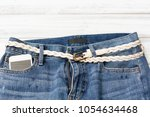 blue jean denim with smart... | Shutterstock . vector #1054634468