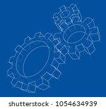 3d gear wheel. vector rendering ... | Shutterstock .eps vector #1054634939