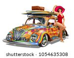 Vintage Car With Pin Up Girl...