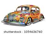 hippie vintage car. | Shutterstock .eps vector #1054636760