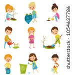 cute kids gardening and picking ... | Shutterstock .eps vector #1054637786