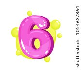 six pink glossy bright number ... | Shutterstock .eps vector #1054637864