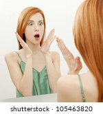 surprised young woman in... | Shutterstock . vector #105463820