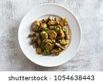 delicious beef stroganoff with... | Shutterstock . vector #1054638443