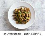 delicious beef stroganoff with... | Shutterstock . vector #1054638443