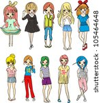 girls | Shutterstock .eps vector #105464648