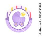 purple cartoon baby carriage or ... | Shutterstock .eps vector #1054650374