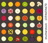 vector icons of sliced fruits... | Shutterstock .eps vector #1054654670