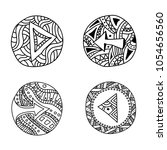 buttons with arrows doodle.... | Shutterstock .eps vector #1054656560