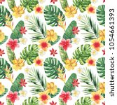 seamless tropical pattern with... | Shutterstock . vector #1054661393