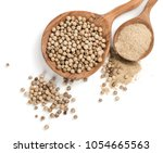 top view of white peppercorns... | Shutterstock . vector #1054665563