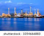 ship port and oil refinery... | Shutterstock . vector #1054666883